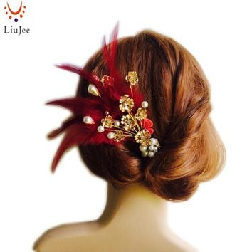New Arrival feather hair clips bridal wedding gold tiaras pearls flower hairpins headwear jewelry for women  GL-122