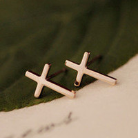 Retro Cross Rose Gold Earrings
