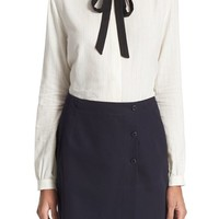 A.P.C. 'Aimy' Tie Neck Cotton Top | Nordstrom