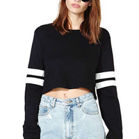 Black Long Sleeve Crop Short T-Shirt * free shipping *
