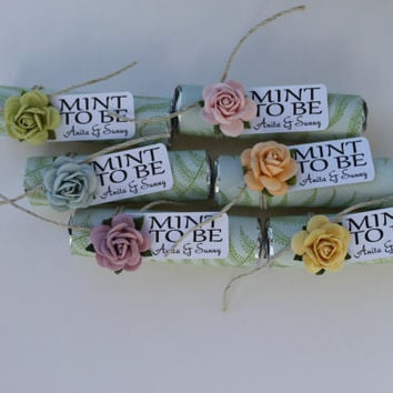 "Mint wedding Favors - Set of 24 mint rolls - ""Mint to be"" favors with personalized tag - fern, pale green, colorful, unique party favors"