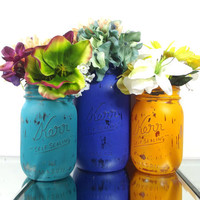 Colorful Home Decor, Painted Mason Jars, Whimsical Decor, Decorated Mason Jars, Cottage Chic Decor, Rustic Chic Decor, Distressed Decor