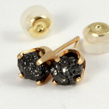 14K Yellow Gold Post Earrings with Rough Diamonds - Natural Unfinished Raw Stones - Jet Black Diamonds - Gold Studs - Birthstone