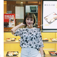 sakura. micro perspective flowers short-sleeved chiffon shirt