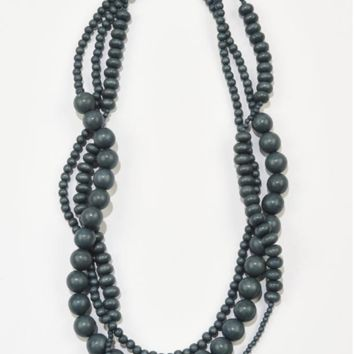 Ink + Alloy | 3 STRAND TEAL WOOD BEADED NECKLACE