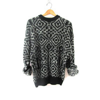 Vintage 80s abstract sweater. Bill Cosby sweater. Oversized sweater black and white