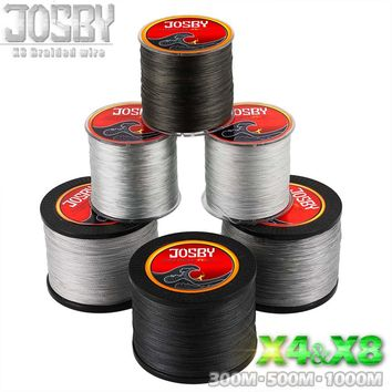 JOSBY 4 Stands 8 Stands 300m 500m 1000m Multifilament PE Braided  Fishing Line   Saltwater Weave Carp Fishing Cord Pesca Wire