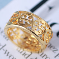 Tory Burch Fashion New Hollow Women 6 Number Ring Golden