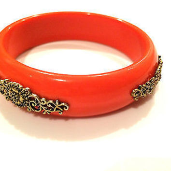 Golden Filigree Orange Domed Lucite Bangle Plastic Bracelet True Vintage Jewelry