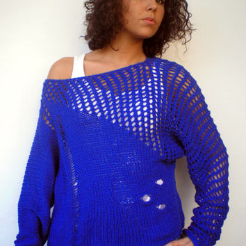 OOAK Lace Sweater Trendy Royal blue Hand Knit Woman Asymetrical Sweater NEW