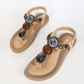 Female Flip Flops 2017 Summer Women New Fashion Sandals Beach Bohemian Flat Shoes Wild Women Summer Shoes Concise aAT01