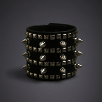 Studded Faux Leather Cuff