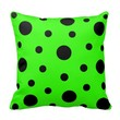 Pillow with Black Dots on Apple Green