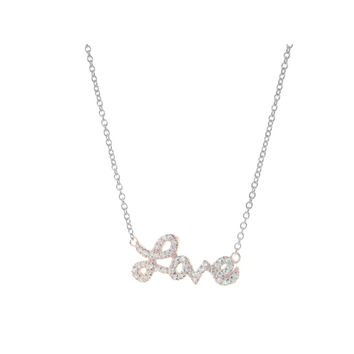 "Rose Gold-Plated Sterling Silver Cursive Love Zirconia Pendant Necklace, 16"" + 2"" ext"