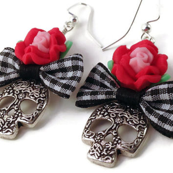 Sugar Skull Earrings - Skull and Flower - Day of the Dead Jewelry - Horror Jewelry - Gothic Jewelry - Halloween Jewelry - Bow Earrings
