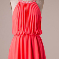 Pretty in Pleats Dress - Coral