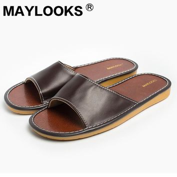 2017 summer men's slippers casual shoes PU leather sandals flat sandals  8807