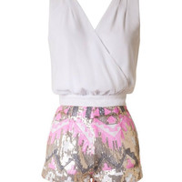 Pink and Ivory Sequin Romper