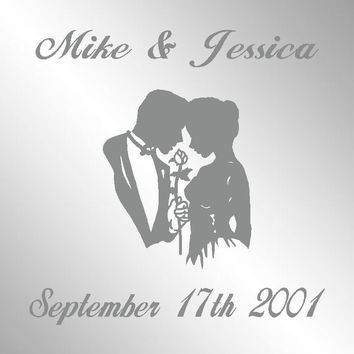 """His Hers Rose Wedding Date Name Personalized Etched Mirror Signs Man Cave Decor 12"""" L x 12"""" T"""