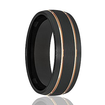 Mens Wedding Band - Tungsten Wedding Band - Black Tungsten  Double Groove Rose Gold Inlay Domed  - Tungsten Wedding Ring - Man Tungsten Ring - 8mm