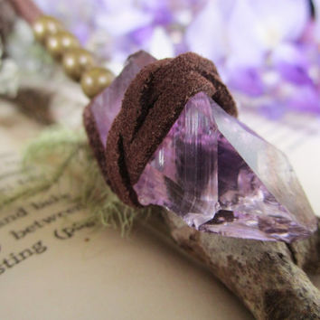 AMETHYST vegan leather wrapped necklace | Raw Amethyst | Tribal necklace | Bohemian crystal necklace | Cruelty free jewelry | Unisex