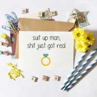 Funny Groomsman Asking Card-Suit Up-Funny Bridesmaid Cards-Bridesmaid Asking-Groomsman Gifts-Funny Wedding Card