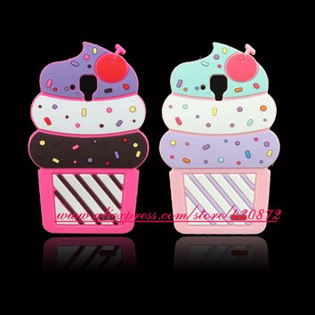 For Lenovo A536 HOT 3D Silicon Cat Stitch Cherry Cupcake Soft Phone Back Skin Cover Case for Lenovo A 536