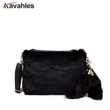 Women Messenger Bags Winter Female Leopard Bag Luxury Faux Fur Bags For Women Shoulder Clutch Bag Ladies Handbags Bolsa PP-1095