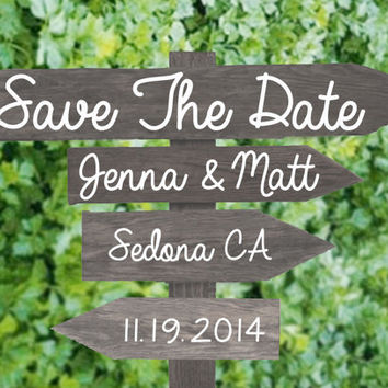 Rustic Save The Date Wood Sign Vintage Modern Fall Autumn Outdoor Wedding Invitation Wooden Print or Printable Digital File DIY post card