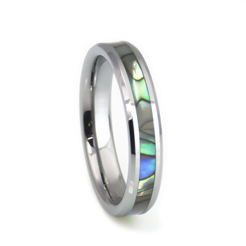 Mother of pearl tungsten wedding ring 4mm
