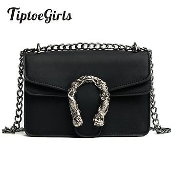 240e359d5514 Fashion Women Design Shoulder Bags Diagonal Quality Leather Lady Handbags  Vintage Chains Small Bag