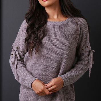 Thick Knit Eyelet Lace Up Sleeve Sweater Top | UrbanOG