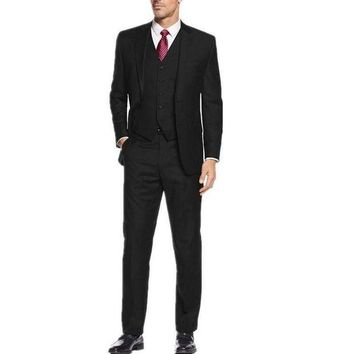DCCKON3 Custom men's business suits three-piece formal two grain of buckle suit elegant pure black for the groom three-piece suit dress