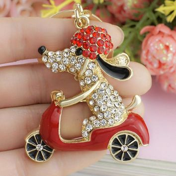 Lovely Dog Motorcycle Biker Crystal Rhinestone Keychain