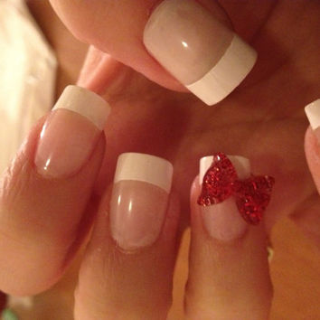French Nails with 3D bows