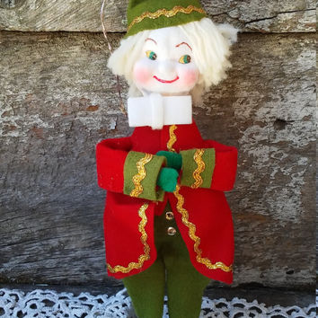 Vintage Pixie Elf, Tree Ornament, 1960s Japan, Green and Red Felt, Christmas Decor, Retro, Hanging, Holiday
