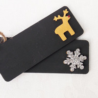 Christmas Gift Tag, Gift Tag, Chalkboard Tag, Wooden Gift Tag, Present Tag, Black Tag, Rudolph, Snowflake, Glitter, Black, Silver, Gold
