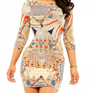 Peacock Feather Printed Mini Bodycon Dress
