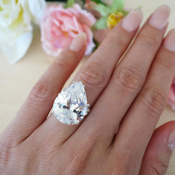 STUNNING 15 Carat Pear Cut, Man Made Diamond Simulant Ring, Engagement, Holiday, Cocktail Ring, Sterling Silver, Glamorous