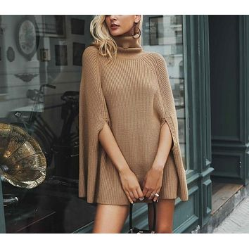 Knitted Turtleneck Sweater Cloak