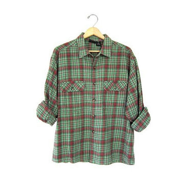 Vintage 90s Plaid Shirt. ORGANIC Cotton Flannel Shirt. Button Up Patagonia Shirt Preppy Boyfriend Tomboy Prep Shirt Mens Medium
