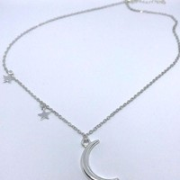 Star and Moon and Star Pendant Minimalist Necklace Choker Jewelry Silver SILVER