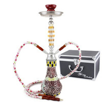 "NeverXhale Convertible Series: 18"" 1 or 2 Hose Convertible Hookah - Basilica Mosaic Glass Vase - Pick Your Color (Brilliant Red)"