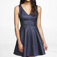 METALLIC JACQUARD FIT AND FLARE DRESS