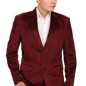 Velvet Two Buttoned Notch Lapel Party Coat Blazer-Seven Colors