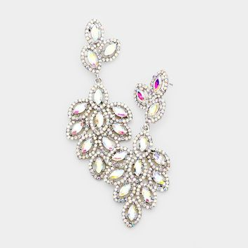 Glass Crystal Marquise Cluster Drop Evening Earrings