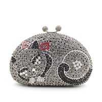 Women Kisslock Cat Rhinestone prom Clutch