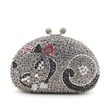 51debe1812 Women Kisslock Cat Rhinestone prom Clutch from MILANBLOCKS