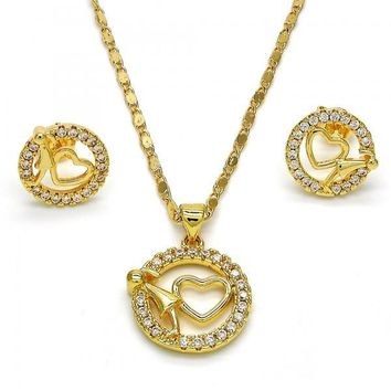 Gold Layered 10.156.0078 Necklace and Earring, Heart and Little Girl Design, with White Crystal, Polished Finish, Golden Tone