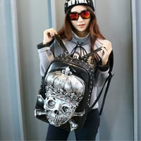 3D Crown Skull King Zombie Gothic Backpack Leather Shouler Bag for Girls and Boys BLACK/GOLD/SILVER
